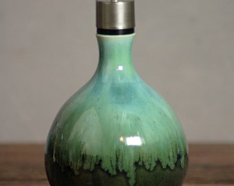 Handthrown Stoneware Soap Lotion Dispenser Pump Rainbow Trout Green