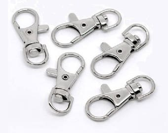 set of 5 lobster swivel clasp key chain rings, 37mm x 16mm
