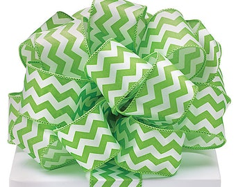 5+ Yards Lime Green Chevron Ribbon - #9 - 1.5 Inch - Wired Edge - 5 Yards