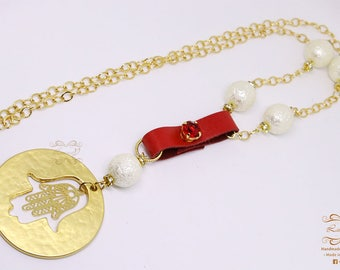 Peace Sign Necklace gold plated Circle ,