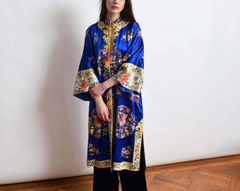 Embrodiered Chinese Jifu Silk Robe in Cobalt Blue Vintage Asian Court Robe XS S M L