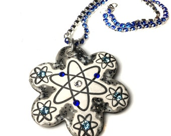Atomic Flower Sparkle Surly Necklace with Swarovski Crystals