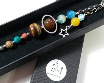Solar System Bracelet, Space Jewellery, Geek Jewelry, Galaxy Bracelet, Planets Gift, Science Present, Astronomy Gift for Him, Sci-Fi Gift