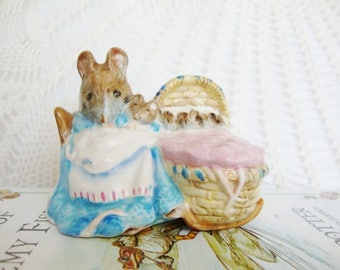 vintage mouse figurine beswick beatrix potter english ceramic mama and baby hunca munca