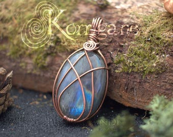 Celtic Entrelacs pendant Labradorite - Wire Wrapping - Copper Wire Wrapping Gemstone