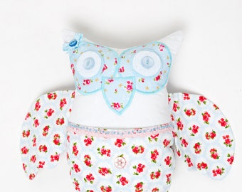 Owl Cushion / Pillow in Blue and Rose Patchwork with bead and button detail - Perfect for Girls Bedroom