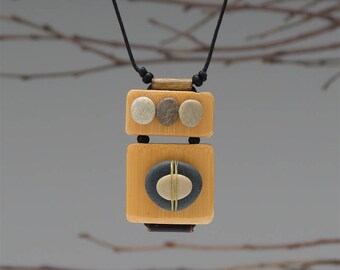 Necklace,nature,bamboo,mixed media jewelry, beach stone,zen