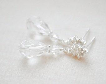 Clear Crystal Earrings, Swarovski Crystal Earrings, Teardrop Earrings for the Bride, Wedding Earrings