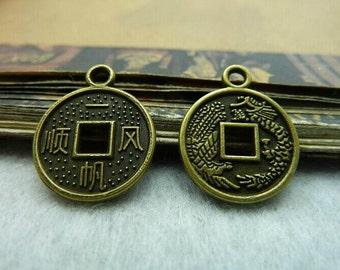 50pcs 15mm The  Antique Bronze Retro Pendant Charm For Jewelry Bracelet Necklace Charms Pendants C5713