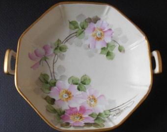 Vintage 1920s Noritake Nippon Porcelain Handpainted Serving Bowl/Signed by Artist