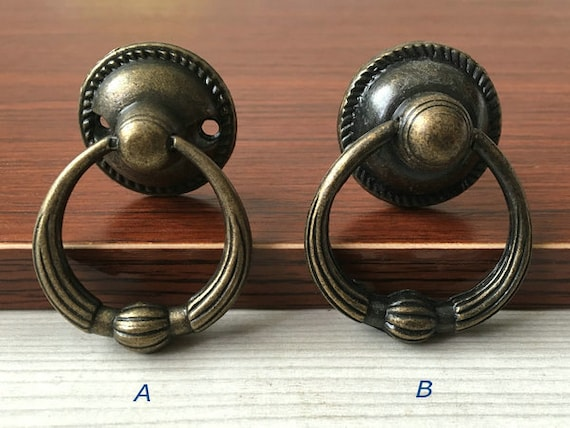 Vintage Look Dresser Drawer Pulls Handles Knobs Ring Drop Pull