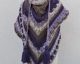 Purple Crochet Scarf - Purple Crochet Shawl - Oversized Scarf - Warm and Cute Shawl - Boho Crochet Shawl - Prayer Shawl - Gift for her