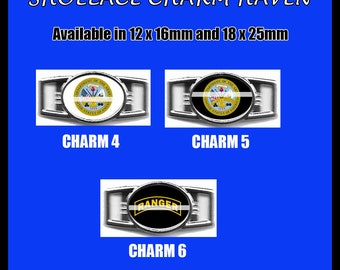 ARMY Shoelace Charm  Paracord Bracelet Charm Oval Charm 12 x 16mm or 18 x 25mm Charms