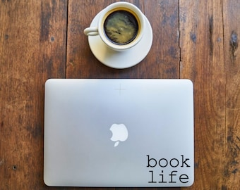 book life - Decal for Writers, Readers, Librarians, Book lovers,laptop - Vinyl Decal - Various Colors, FREE Shipping