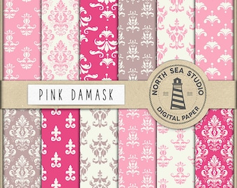 PINK DAMASK, Digital Paper, Damask Backgrounds, Classical Damask Patterns, For Scrapbooking, Invites, Card Making, Coupon Code: BUY5FOR8
