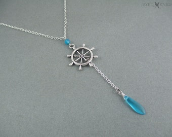 Aqua Ship's Wheel Nautical Themed Lariat Necklace - Pirates of the Caribbean - Jack Sparrow - Once Upon a Time - Captain Hook