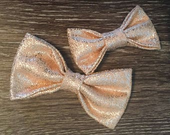 Rose Gold Faux Suede Hairbow and Soft Nylon Headband