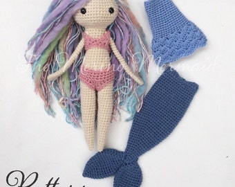 Luna of the Land and Sea Crochet Amigurumi Doll Mermaid Toy Pattern with clothes PDF E-book
