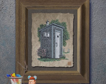 Nostalgic cute shingled outhouse art Whimsical yesteryear print adds Americana art to bath room  wall decor as 8x10 or 13x19 privy print