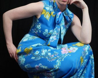 Vintage 60s Bright Blue Floral Maxi Dress with Matching Belt