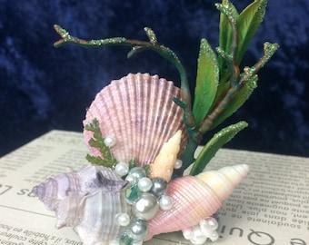 Mermaid Hair Clip of Shells and Pearls