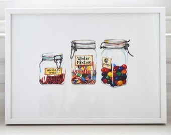 A3 Print of Old Fashioned Sweets in Jars (original watercolour painting)