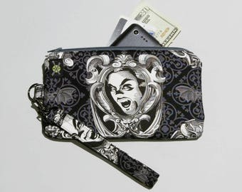 Dracula Phone Wristlet, Classic Movie Monster, Small Zipper Purse, Damask Bats, Detachable Strap, Black and White