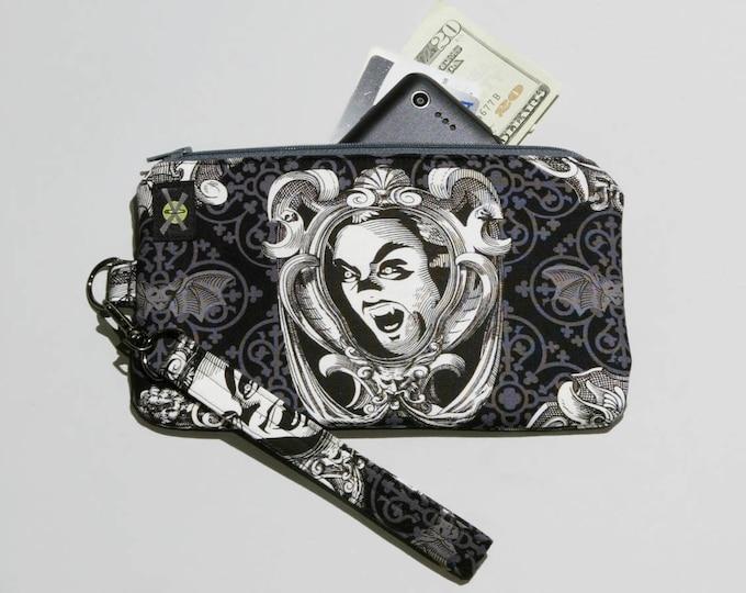 Dracula Phone Wristlet, Classic Movie Monster, Small Zipper Purse, Damask Bats, Detachable Strap, Black and White