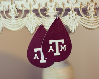 A&M leather earrings! Gig 'Em! FREE SHIPPING