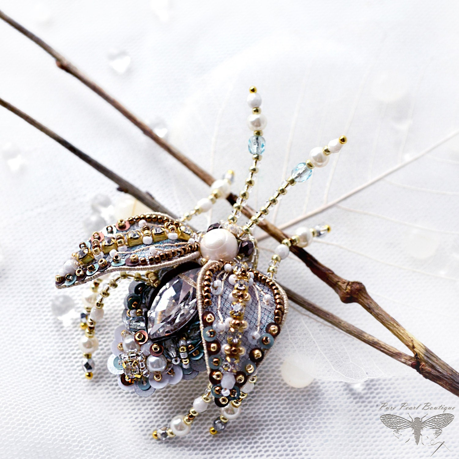 white rutilated jewelry diamond quartz butterfly chantecler brooch gold