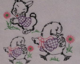 Vintage Bunny, Duckie, Doggie, and Kitty,  Digized Embroidery Designs