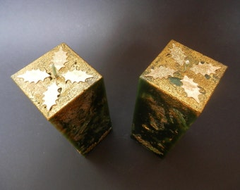 Christmas Candle, Green Candle, Glittery Candle, Square Candle, Decorated with Gold Holly Leaves