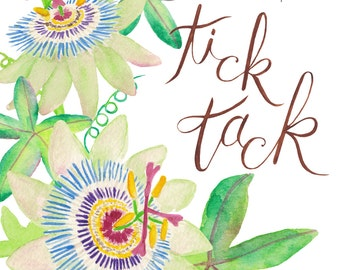 Passion Flower / Hand Painted Watercolor Clipart