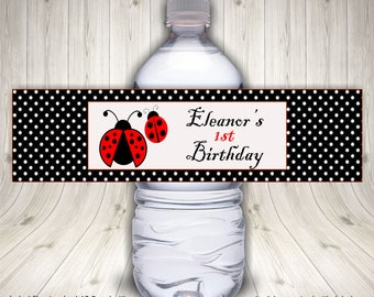 Ladybug Party, Water Bottle Label, Ladybug Birthday, First Birthday, Ladybug Theme, Ladybug Favors, Ladybug 1st Birthday, Polka Dot Ladybug