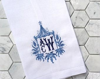 Charmant Monogrammed Linen Guest Towel Pagoda Style   Pagoda Monogram   Chinoiserie    Hostess Gift   Monogrammed Tea Towel   Housewarming Gift