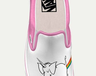 Women's 'Official' Cy The Elephart ~Unicorn-Rainbow-Lovin~ Custom Slip-on Vans (Pink Suede Version)