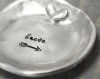 Pewter Ring Dish, brave ring dish, Ring Holder, Trinket Dish, Jewelry Holder, Jewelry Storage, Jewelry Display, Jewelry Storage, Ring Tree,