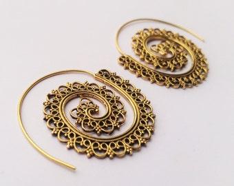 Brass Spiral Earrings, Brass Earrings, Earrings, Boho Earrings, Tribal Earrings, Ethnic Jewellery, Brass Jewellery