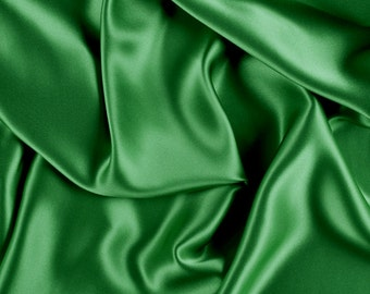 "45"" Wide 100% Silk Charmeuse Green By the Yard (1000M197)"