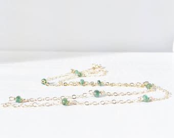 Emerald Necklace - Station Necklace - May Birthstone Necklace - Mother's Day Gift - Dainty Gold Gemstone Necklace - Layering Necklace