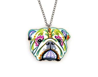 English Bulldog Day of the Dead Sugar Skull Dog Necklace