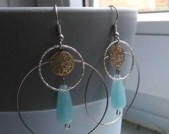 Large geometric hoop earrings with jade drops