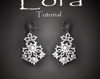 Tatting Pattern tutorial earrings - Frivolite white lace jewelry - Wedding  tatting beaded earring- Victorian style lace jewelry