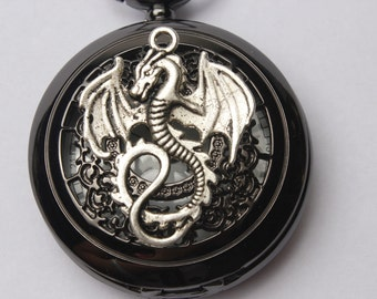 Steampunk pocket WATCH,Dragon Black Pocket Watch With Chain,  pterosaurs pocket watch necklace Halloween gifts