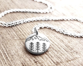 Tiny mountain necklace in silver, trees and mountain pendant, wilderness jewelry