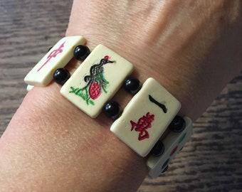SALE Vintage Mah Jong Bracelet Superb Vintage Antique Cow Bone Mah Jongg Tiles
