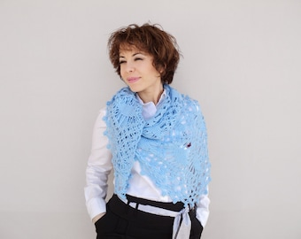 Bridal Shawl - Blue Crochet Scarf - Blue Bridal Wrap - Wedding Accessory - Crochet Bridal Shawl, ready to ship