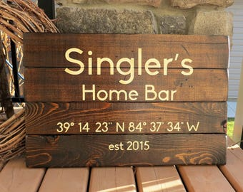 Home Bar Customized Wood Sign - Established Date Sign, Family Name, Man Cave, Rustic, Distressed, Country, Home Decor