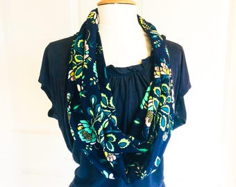 Floral Infinity Scarf - just the ladies scarf- Matching Outfits -  Mother Daughter Matching Outfits- Infinity Scarf - Jade Green and Navy