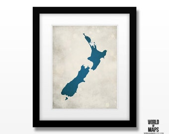 New Zealand Map Print - Home Town Love - Personalized Art Print Available in Multiple Sizes